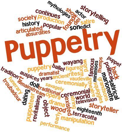 puppetry: Nube palabra abstracta para T�teres con las etiquetas y t�rminos relacionados