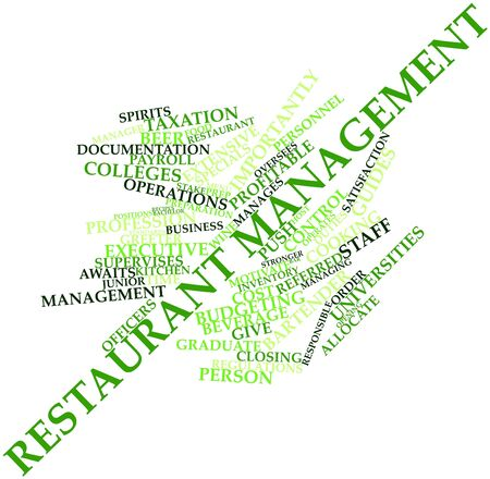 importantly: Abstract word cloud for Restaurant management with related tags and terms