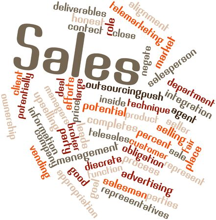 potentially: Abstract word cloud for Sales with related tags and terms Stock Photo