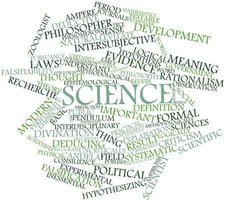falsification: Abstract word cloud for Science with related tags and terms Stock Photo