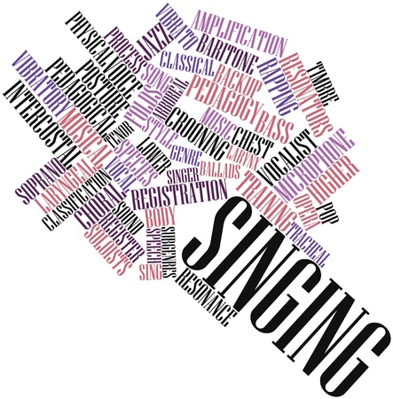 pedagogical: Abstract word cloud for Singing with related tags and terms Stock Photo