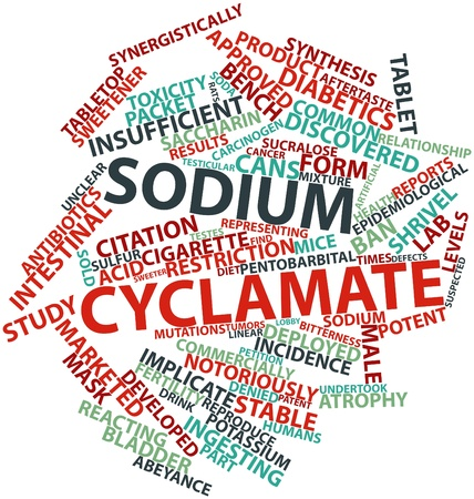 toxicity: Abstract word cloud for Sodium cyclamate with related tags and terms Stock Photo