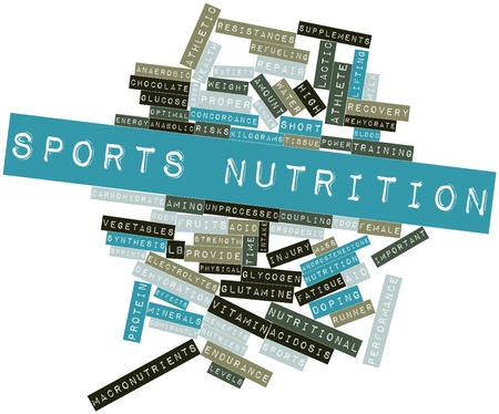supplements: Abstract word cloud for Sports nutrition with related tags and terms Stock Photo