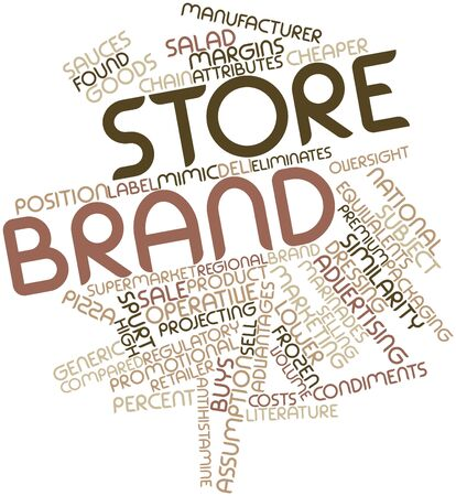 brings: Abstract word cloud for Store brand with related tags and terms Stock Photo