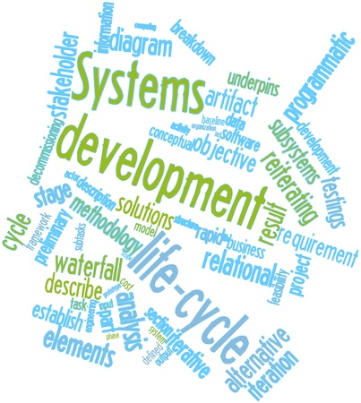 Abstract word cloud for Systems development life-cycle with related tags and terms photo