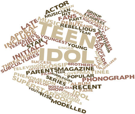 subcultures: Abstract word cloud for Teen idol with related tags and terms Stock Photo