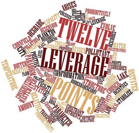 apalancamiento: Nube palabra abstracta por doce puntos de apalancamiento con etiquetas y términos relacionados
