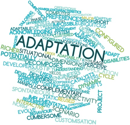 Abstract word cloud for Adaptation with related tags and terms Stock Photo - 16049653