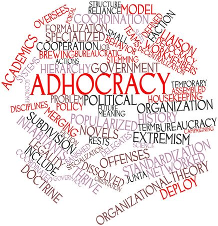 Abstract word cloud for Adhocracy with related tags and terms photo