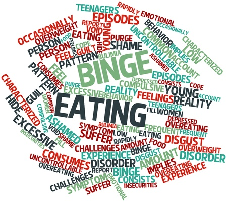 overeating: Abstract word cloud for Binge eating with related tags and terms