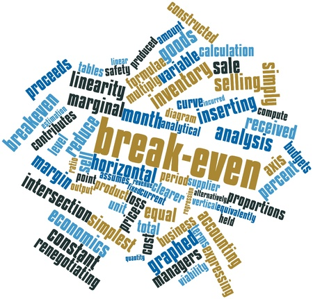 margin of safety: Abstract word cloud for Break-even with related tags and terms
