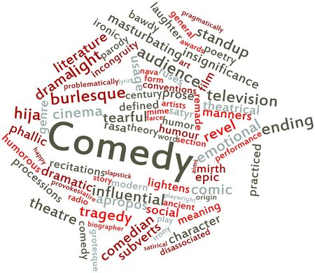 confined: Abstract word cloud for Comedy with related tags and terms