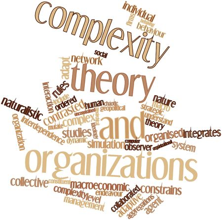 interdependence: Abstract word cloud for Complexity theory and organizations with related tags and terms Stock Photo