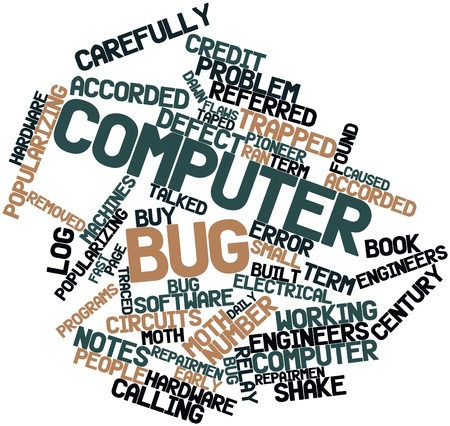 Abstract word cloud for Computer bug with related tags and terms Stock Photo - 16048661