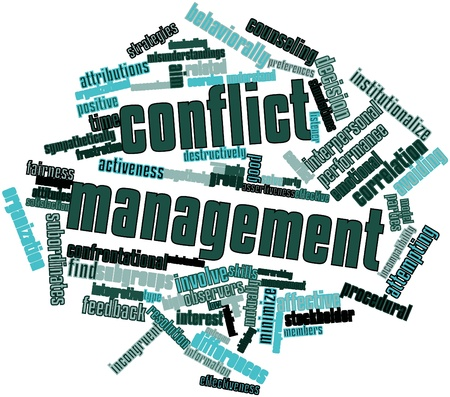 listener: Abstract word cloud for Conflict management with related tags and terms Stock Photo