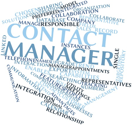 Abstract word cloud for Contact manager with related tags and terms Stock Photo - 16048723