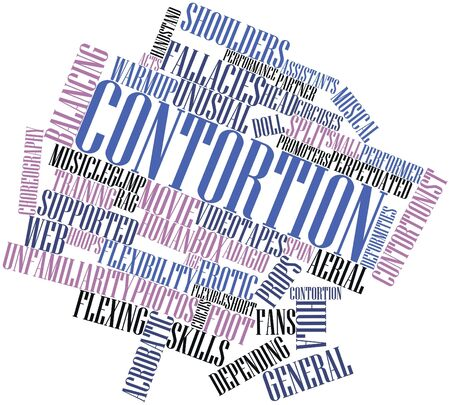 vigorous: Abstract word cloud for Contortion with related tags and terms Stock Photo
