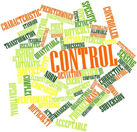 quantitative: Abstract word cloud for Control with related tags and terms Stock Photo