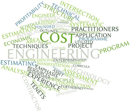 practiced: Abstract word cloud for Cost engineering with related tags and terms Stock Photo