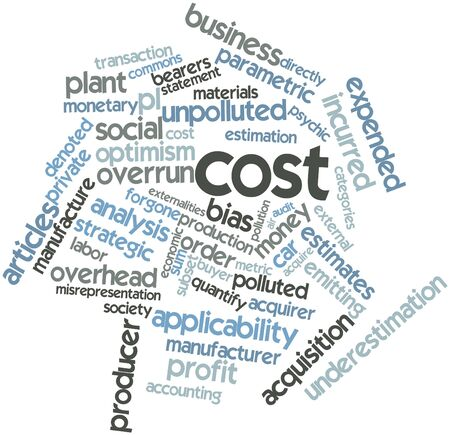 overrun: Abstract word cloud for Cost with related tags and terms Stock Photo