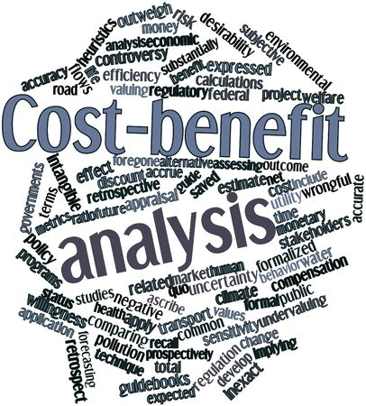 Abstract word cloud for Cost-benefit analysis with related tags and terms Stock Photo - 16049601