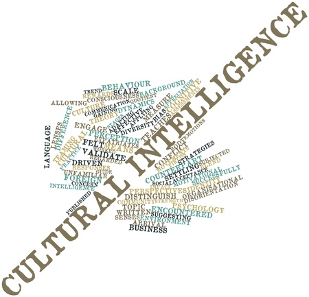 assessments: Abstract word cloud for Cultural intelligence with related tags and terms Stock Photo