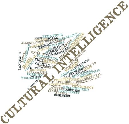 identidad cultural: Nube palabra abstracta para la inteligencia cultural con etiquetas y términos relacionados Foto de archivo