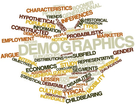 demography: Abstract word cloud for Demographics with related tags and terms