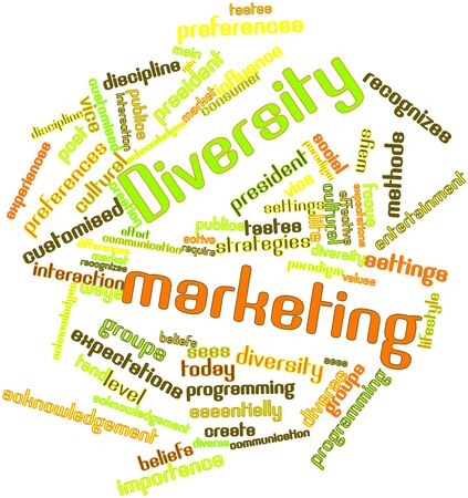 Abstract word cloud for Diversity marketing with related tags and terms photo