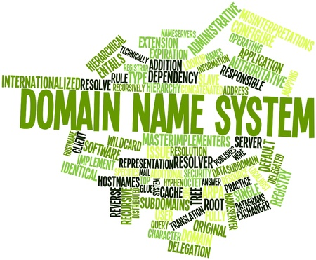 domains: Abstract word cloud for Domain Name System with related tags and terms Stock Photo