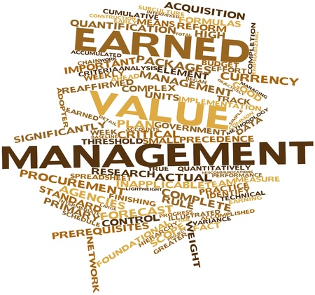 threshold: Abstract word cloud for Earned value management with related tags and terms Stock Photo