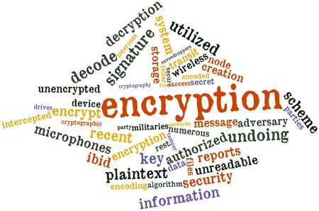 Abstract word cloud for Encryption with related tags and terms Stock Photo - 16048035