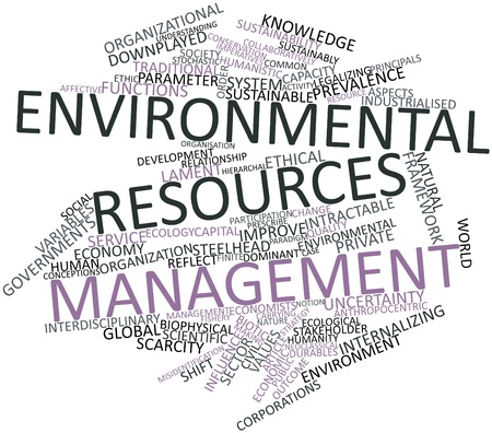 finite: Abstract word cloud for Environmental resources management with related tags and terms Stock Photo