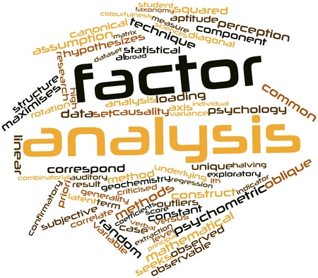 Abstract word cloud for Factor analysis with related tags and terms Stock Photo - 16048286