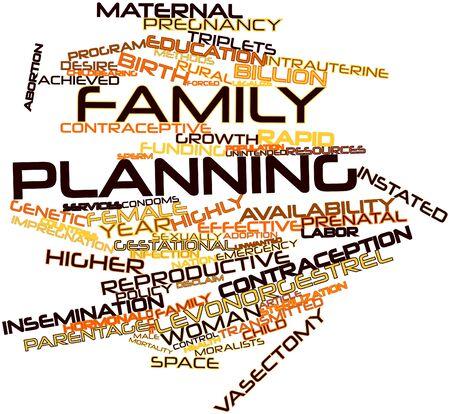 Nube palabra abstracta para la planificación de la familia con las etiquetas y términos relacionados Foto de archivo