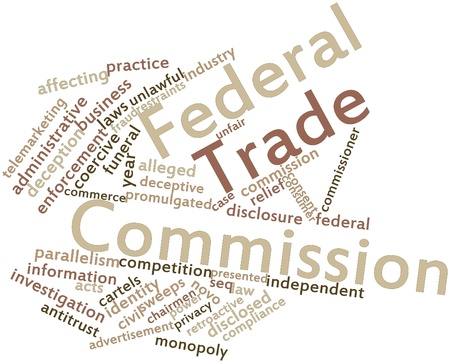 Abstract word cloud for Federal Trade Commission with related tags and terms Stock Photo