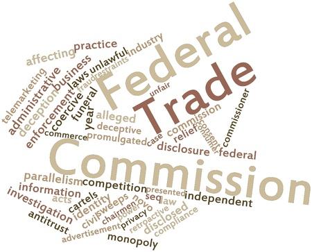 involving: Word cloud astratto per Federal Trade Commission con tag correlati e termini Archivio Fotografico