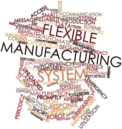 deterministic: Abstract word cloud for Flexible manufacturing system with related tags and terms Stock Photo