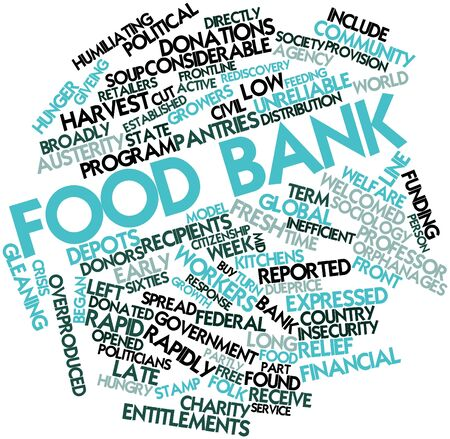 austerity: Abstract word cloud for Food bank with related tags and terms