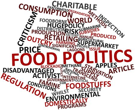 poisoning: Abstract word cloud for Food politics with related tags and terms Stock Photo