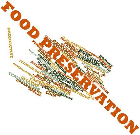 conservacion alimentos: Nube palabra abstracta para conservaci�n de alimentos con etiquetas y t�rminos relacionados