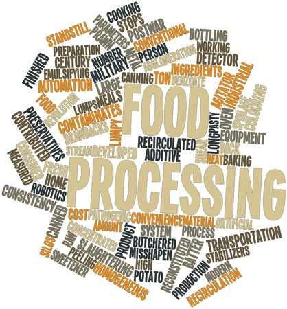 oversize: Abstract word cloud for Food processing with related tags and terms Stock Photo