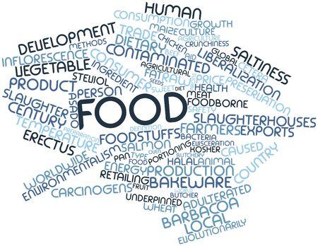 erectus: Nube palabra abstracta para alimentos con etiquetas y t�rminos relacionados