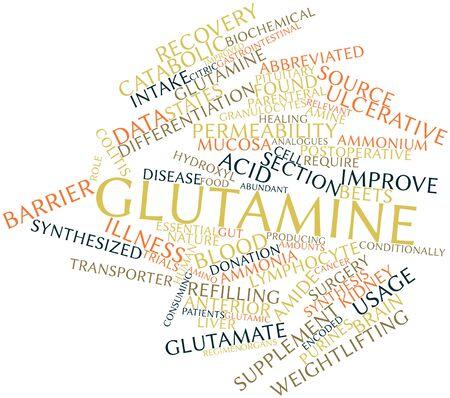 hipofisis: Nube palabra abstracta para la Glutamina con etiquetas y t�rminos relacionados