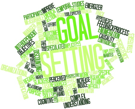 implicit: Abstract word cloud for Goal setting with related tags and terms