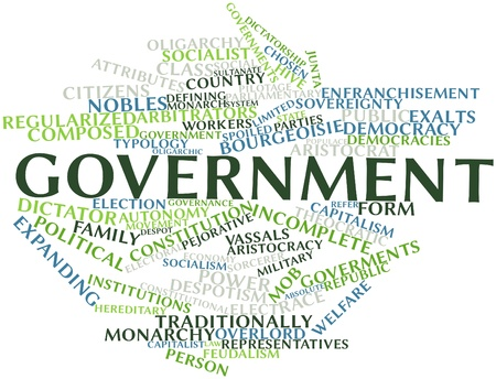 constitutionally: Abstract word cloud for Government with related tags and terms Stock Photo
