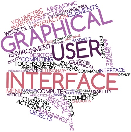 Abstract word cloud for Graphical user interface with related tags and terms Stock Photo - 16048732