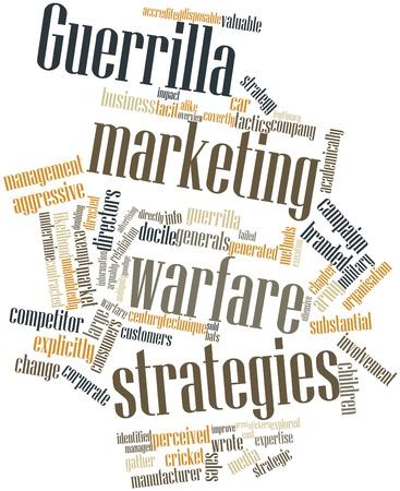 Abstraktes Wort-Wolke für Guerilla-Marketing Kriegsführung Strategien verwandte Tags und Begriffe