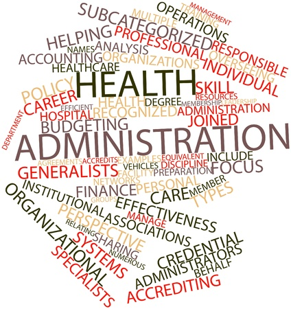 finance department: Abstract word cloud for Health administration with related tags and terms