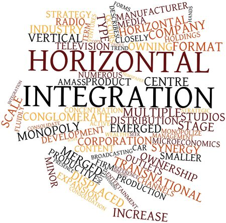 conglomerate: Abstract word cloud for Horizontal integration with related tags and terms Stock Photo